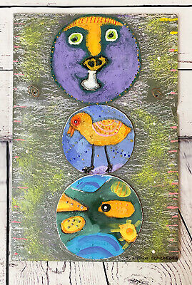 Abstract Art on Slate Original Artwork New Orleans 18x12 Wall Hanging
