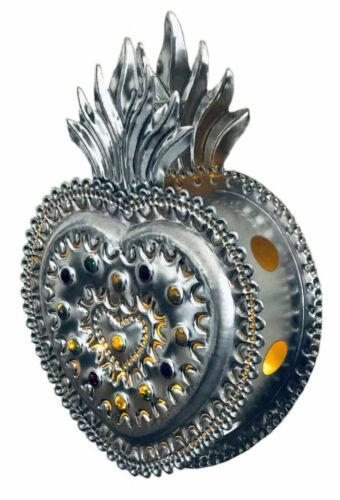 "SACRED HEART Luminaria, Punched Tin Heart Lantern Light, Mexican Folk Art 12"""