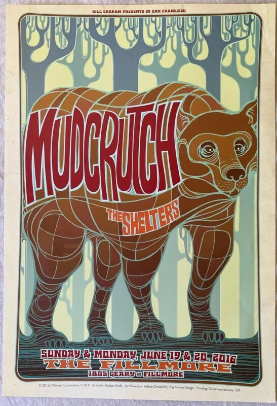 Mudcrutch and The Shelters: The Fillmore, SF 2016 - Concert Poster (F1418)