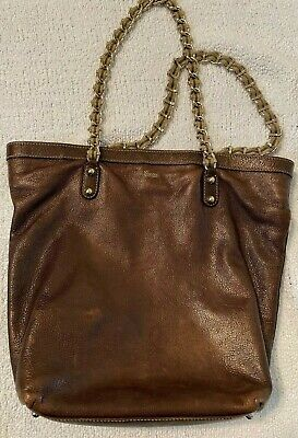 Vintage Authentic Gucci Brown Leather w/ Gold Chain