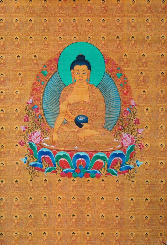 "24"" BLESSED BROCADE WOOD SCROLL TIBETAN THANGKA FULL OF ONE HUNDRED BUDDHA ="