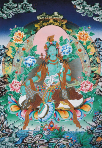 """TOP QUALITY 26"""" BLESSED NATURAL MINERAL COLOR THANGKA POSTER: GREEN TARA"""