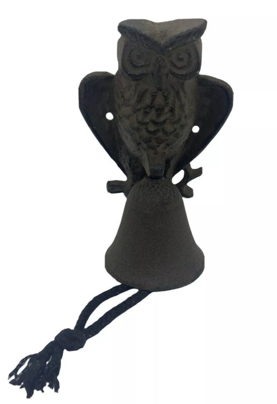 Vintage Cast Iron Owl Bell Wall Mount Heavy