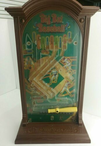 "Vintage 1975 Mattel Big Bat Baseball Mechanical Pin Ball Game 21""x12"" (1A3)"