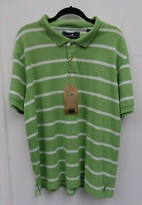 Stone Bay Rhode Island Fairtrade 100% Cotton Men's Striped Green T-Shirt Size XL