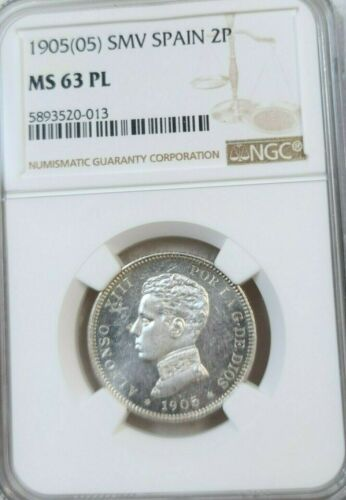 1905 SPAIN SILVER 2 PESETAS ALFONSO XIII NGC MS 63 PL ONLY PROOF LIKE KNOWN