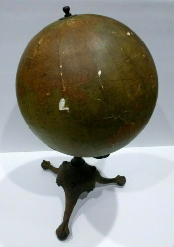 Antique Terrestrial World Globe steel tube Rand McNally Cast Iron Clawfoot Stand
