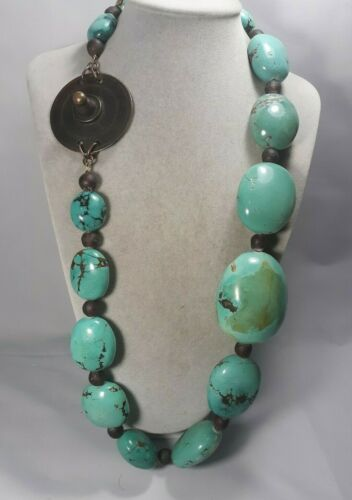 VINTAGE AFRICAN  HUGE TURQUOISE BEAD TRIBE TRIBAL NECKLACE