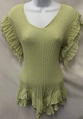 (PRETTY ANGEL Silk Crepe Asymetrical Ruffle Women Tunic Blouse Top Romantic Sz M)