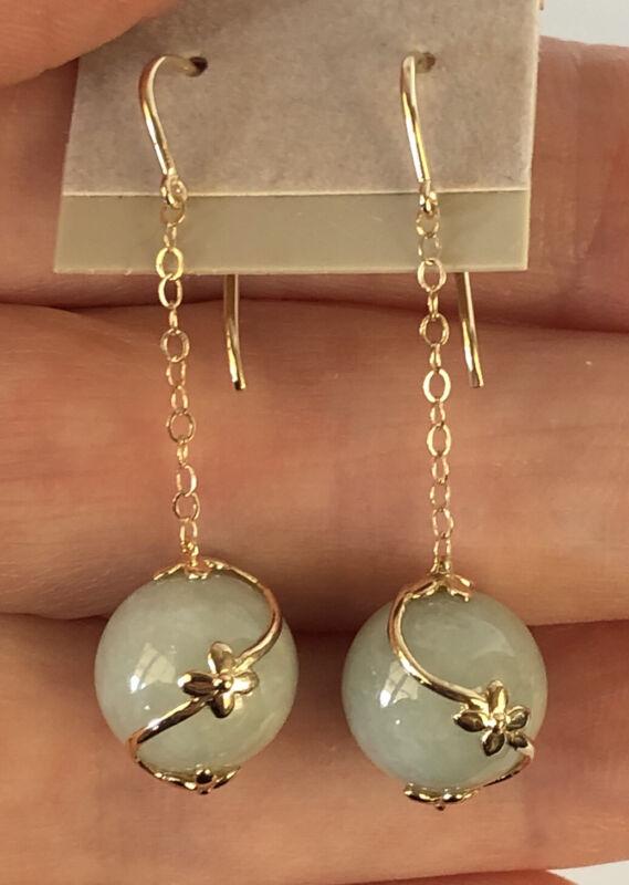 SOLID 14K YELLOW GOLD & GREEN JADE BALL DANGLE PIERCED EAR EARRINGS