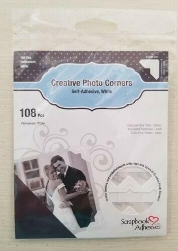 Scrapbook Adhesives Self-Adhesive Embossed Paper Creative Photo Corners WHITE