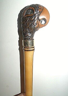 PARROT PEREQUE WALKING STICK CANE BAMBOO WOOD STICK GOLD COLOUR COLLAR 37