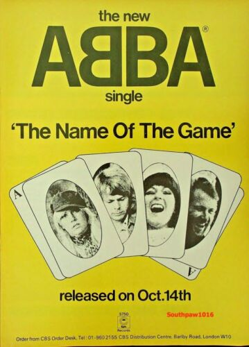 "Classic 1977 Abba ""The Name Of The Game"" Song Release Industry  Promo Ad Reprint"