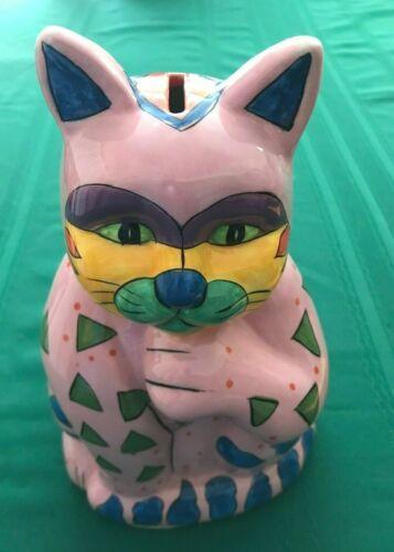 """Cat Bank 10"""" Pink, Green, Yellow, Blue Milson & Louis"""