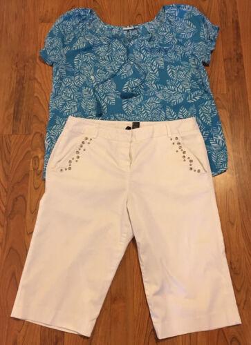 Tropical cruise Ladies 2 PC Outfit - Kim Rogers Aqua Top L & White 12 Capris