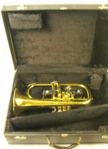 GETZEN ETERNA PROFESSIONAL Bb 3 VALVE FLUGELHORN LACQUERED BRASS WITH CASE NICE