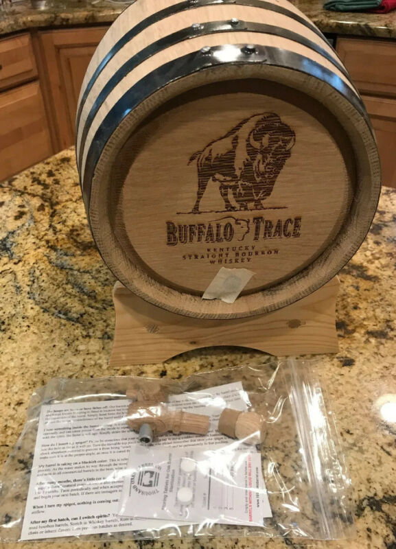 New In The Box Buffalo Trace Bourbon Whiskey Oak Barrel With Stand 3 liter