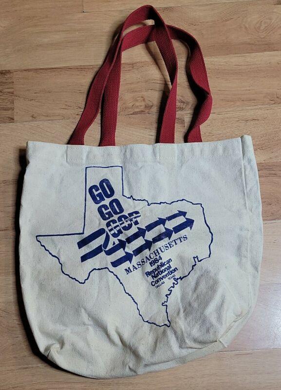 Vintage Massachusetts Republican National Convention Tote Bag GOP Ronald Reagan