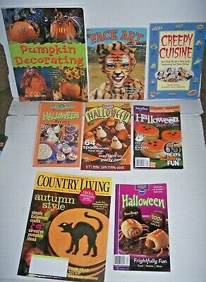 Pumpkin Party Ideas (Big lot 8 Halloween party books Pumpkins Decorate House face art recipes)