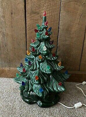 "Vintage Lighted Green Ceramic Christmas Tree Multi Colored 16"" Atlantic Mold"