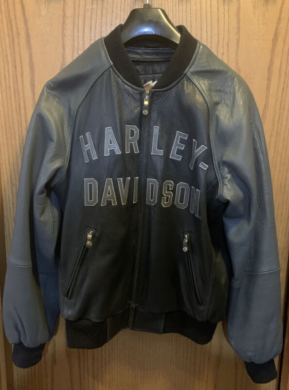 Harley Davidson 100th Anniversary Leather Jacket, black on gray, casual style