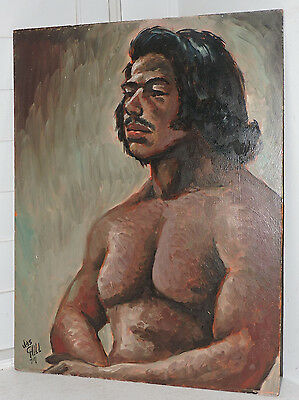 Vintage NUDE MALE Mexican HISPANIC South American Oil Portrait Painting c1974