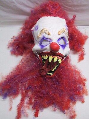 Scary Clown Teeth (Halloween Mask Clown Long Curly Hair Scary Costume Adult Creepy Yellow Teeth)