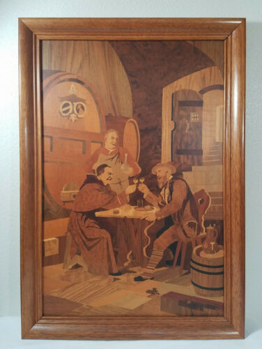 Buchschmid Gretaux Marquetry Wood Inlay Picture Rare BG Large
