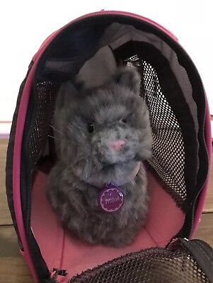 American Girl Doll Gray Cat Praline AND Pink Pet Carrier w Mat Dog Food Bowl Lot