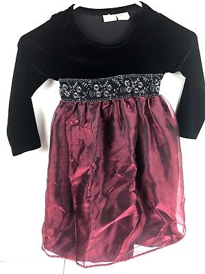 Perfectly Dressed Girls Size 5 Party Dress Black Bodice Red Skirt Long Sleeves