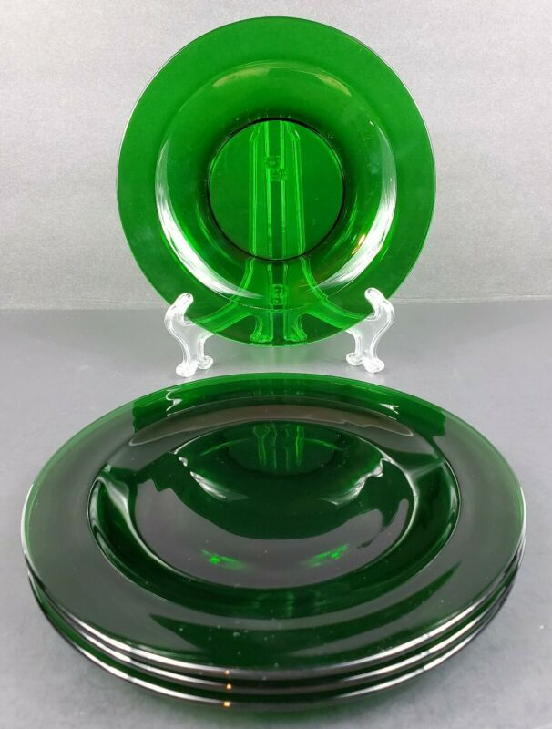 "Set of 4 Forest Green 8.25"" Round Glass Salad Dessert Plates Mint/ Near Mint"