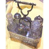 Victorian cut glass silver plate bottle cruet condiment oil vinegar set stand