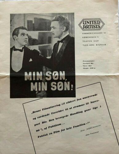 My Son, My Son! Madeleine Carroll Brian Aherne 1940 Danish Movie Press Release