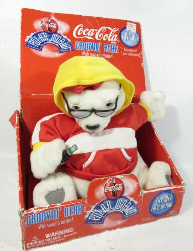 VTG 1998 Trendmasters Coca Cola Grooving Singing/Dancing Polar Bear Plush Toy