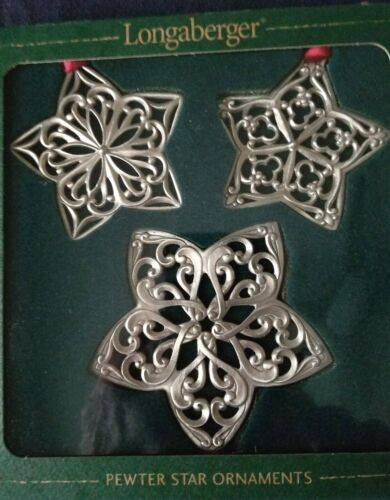 Set Of 3 Longaberger Pewter Star Bright Ornaments Date 2001 - New  in Box