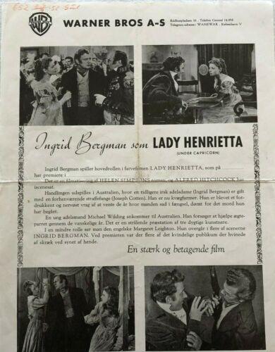 Under Capricorn Ingrid Bergman Joseph Cotten 1949 Vtg Danish Movie Press Release