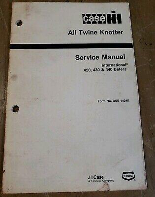 International 420 430 440 Baler All Twine Knotter Service Manual 1j-2324-x9
