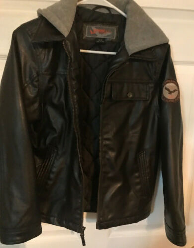 Hawke and Co.Outfitters Brown Faux Leather Jacket w/Hood-Size 14/16-Full Zip