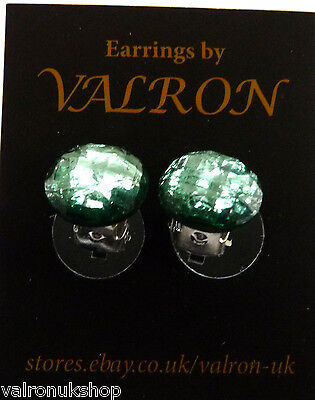 ICE GREEN DOME EARRING EITHER CLIP ON MAGNETIC OR STUD (13mm) Ice Dome