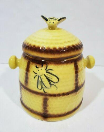 Vtg House of Webster Ceramics Beehive Honeycomb Cookie Biscuit Jar Yellow Brown