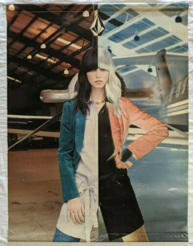 Huge Rare Volcom Stone Logo Fashion Airplane Dual Photo Negative Vinyl Poster