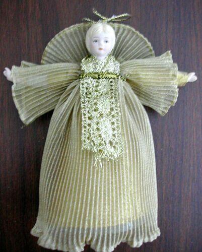 "Vintage TREETOP RIBBON ANGEL Christmas Ornament Porcelain Head 6½"" EUC"