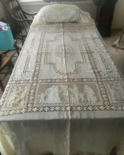 Antique Continental Needle Lace & Lawn Bed Cover & Sham / Classical Figures