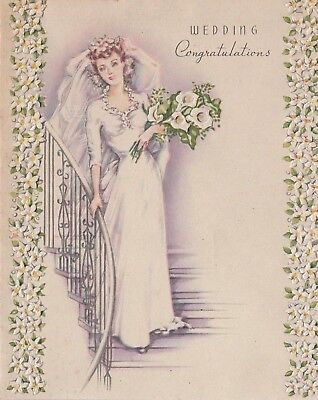 VTG 1940'S WEDDING CONGRATULATIONS EMBOSSED DAISIES CALI LILY FLOWERS CARD