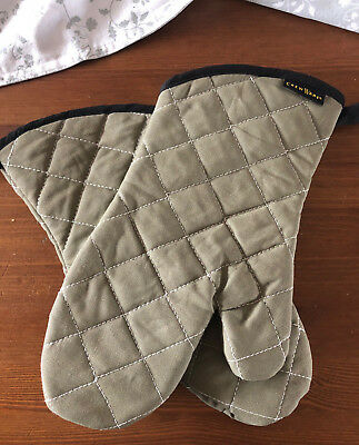1 Paar BestGuard Mitt Backhandschuh Set 33cm Beige Topfhandschuh 100% Baumwolle
