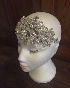 Silver Rhinestone Headdress 1920s Flapper Headband Vintage Great Gatsby Bridal