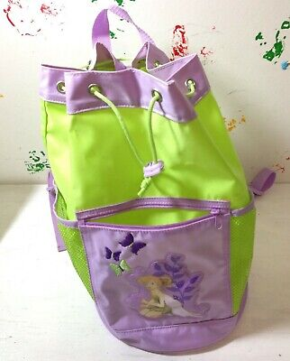 Disney Tinkerbell Backpack (Disney Store Tinkerbell Nylon Round Backpack Purple/Green)