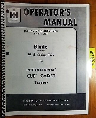 Ih International Harvester 42 Blade With Spring Trip For Cub Cadet Manual 462