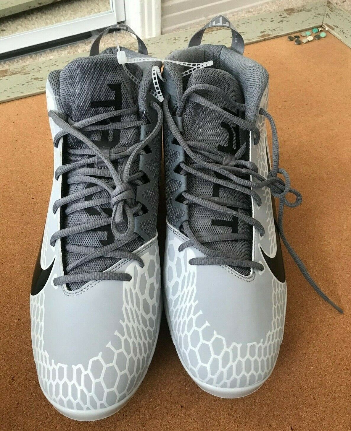 Nike Force Zoom Mike Trout 5 Mid Baseball Cleats Size 14 Gray AH3372-002 NEW 856 - $40.00