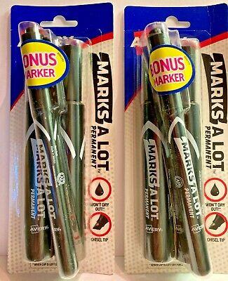 2 Avery Bonus Packs 07902 Black Marks-a-lot Permanent Marker 3 Count Each